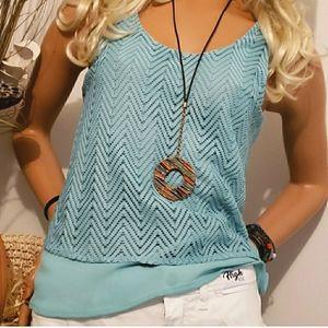 Candie's turquoise crochet chevron layered tank